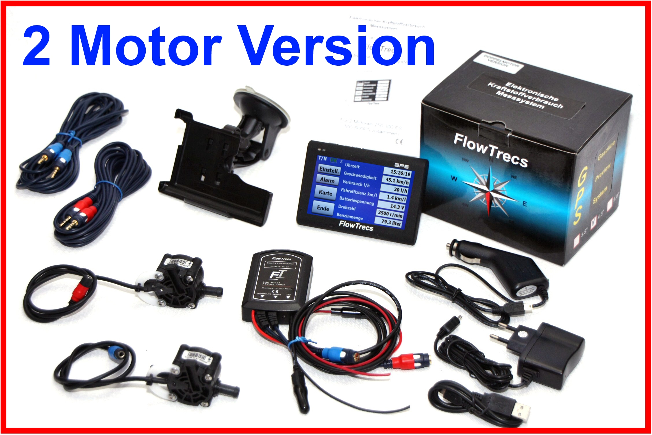 Flowtrecs Verbrauchsanzeige für Motorboot Sportboot Aussenborder Innenborder GPS für 2 Motoren